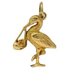 Art Nouveau 14 Karat Gold Stork Delivering Baby Realistic Charm