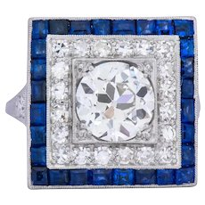 Art Deco 2.90 CTW Diamond Sapphire Platinum Cocktail Dinner Ring GIA Circa 1930