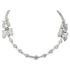 Retro 30.20 CTW Diamond Platinum French Convertible Necklace & Bracelets Circa 1950