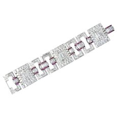 Retro Substantial 50.20 CTW Diamond Ruby Platinum Wide Link Bracelet Circa 1950