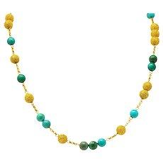 Van Cleef & Arpels Turquoise 18 Karat Gold 37 Inch Bead Station Necklace