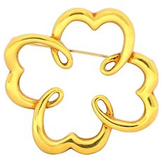 Paloma Picasso Tiffany & Co. 1981 18 Karat Yellow Gold Quatrefoil Brooch