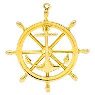 14 Karat Yellow Gold Nautical Ship's Wheel Pendant Circa 1950