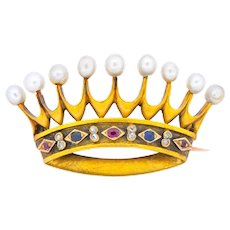 Late Victorian Pearl Sapphire Ruby Diamond 18 Karat Gold Crown Brooch Circa 1890