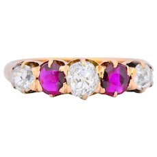 Victorian 0.51 CTW Diamond Ruby 14 Karat Gold Band Ring