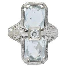Edwardian 2.60 CTW Aquamarine Diamond 18 Karat White Gold Ring