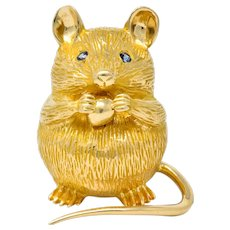 F.J. Cooper Retro Sapphire 14 Karat Gold Mouse Brooch