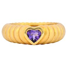Tiffany & Co. Contemporary Amethyst Heart 18 Karat Gold Ring