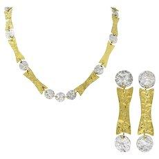 Anne Dick Vintage Sterling Silver Brutalist Link Necklace Earring Set Circa 1970's