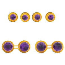 W.F. Cory & Bro. Edwardian Amethyst 14 Karat Gold Men's Cufflinks Button Studs Dress Set