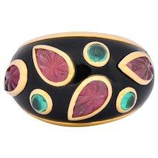 Cartier French Tourmaline Emerald Lacquer 18 Karat Gold Ring Circa 1991