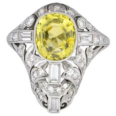 Walton & Co. Belle Epoque 3.70 CTW Chrysoberyl Diamond Platinum Dinner Ring