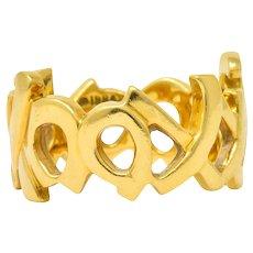 Tiffany & Co. Paloma Picasso 1984 18 Karat Gold Graffiti Love And Kisses Band Ring