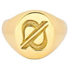 Tiffany & Co. Vintage 14 Karat Gold Unisex Cancer Zodiac Signet Ring