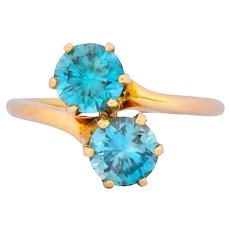 Church & Company Victorian 2.50 CTW Zircon 14 Karat Gold Toi Et Moi Ring