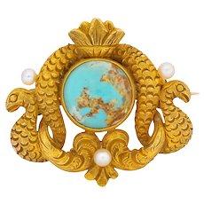 Thomas F. Brogan & Co. Victorian Turquoise Pearl 14 Karat Gold Serpent Brooch