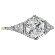 Edwardian 1.61 CTW Diamond Platinum-Topped 14 Karat Gold Engagement Ring GIA