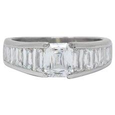Modern 2.52 CTW Crisscut Diamond Platinum Engagement Ring GIA