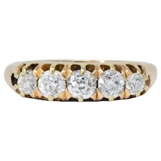 Victorian 0.75 CTW Diamond 14 Karat Gold Stackable Band Ring