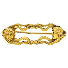 Art Nouveau 14 Karat Gold Lovely Lady Brooch