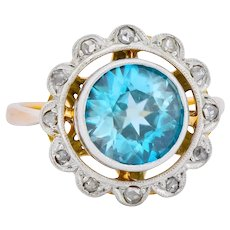 Edwardian 2.20 CTW Zircon Diamond Platinum 14 Karat Gold Ring