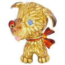 1960's Sapphire 14 Karat Gold Enamel Puppy Dog Brooch