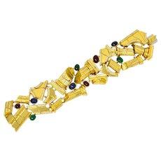 1970's 14.25 CTW Diamond Emerald Ruby Sapphire 18 Karat Gold Ancient Ruins Bracelet
