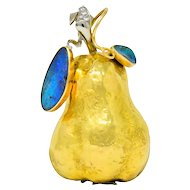 J. Frech 1980's Diamond Opal Doublet 18 Karat Two-Tone Gold Pear Pendant