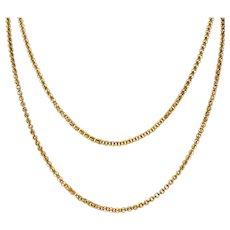 "Victorian 14 Karat Rose Gold Fancy 62"" Long Chain Necklace"