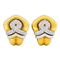 Tiffany & Co. Faraone 1.10 CTW Diamond 18 Karat Two-Tone Gold Ear-Clip Earrings