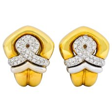 Tiffany & Co. Faraone 1.10 CTW Diamond 18 Karat Two-Tone Gold Ear-Clip Earrings
