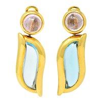 Contemporary Blue Topaz Pink Tourmaline 18 Karat Gold Drop Ear-Clip Earrings