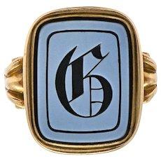 Victorian Intaglio Hardstone 14 Karat Gold Lettered Signet Ring