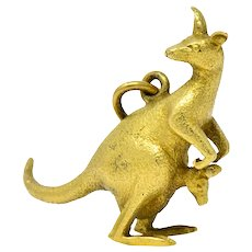 18 Karat Green Gold Kangaroo And Baby Joey Charm