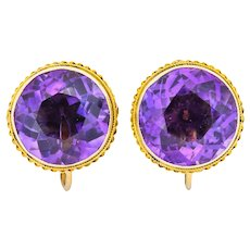 Walter Lampl 13.00 CTW Amethyst 14 Karat Gold Earrings