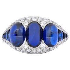 Art Deco 6.30 CTW No Heat Sapphire Diamond Platinum Ring AGL