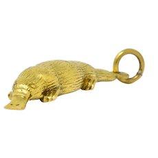 Fun 18 Karat Green Gold Platypus Charm