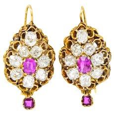 Victorian 5.70 CTW Pink Sapphire Diamond 14 Karat Gold Drop Earrings