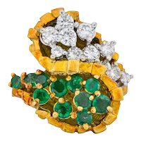 Modernist 2.20 CTW Diamond Emerald 18 Karat Gold Bypass Cocktail Ring
