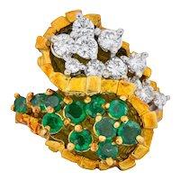 Modernist 2.20 CTW Diamond Emerald 18 Karat Gold Bypass Cocktail Ring