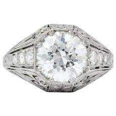 Exquisite Edwardian 2.55 CTW Diamond Platinum Engagement Ring GIA