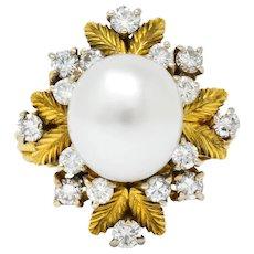 Retro 0.95 CTW Diamond South Sea Pearl 18 Karat Gold Cluster Ring