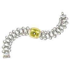David Yurman Green Quartz Sterling Silver 18 Karat Gold Woven Link Chain Bracelet