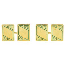 Geoffroy & Co. Art Deco Enamel 14 Karat Gold Men's Cufflinks