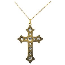 Victorian Rose Cut Diamond 14 Karat Gold Unisex Cross Pendant