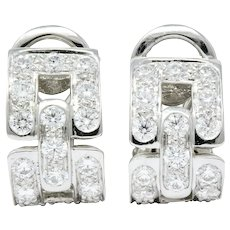 Tiffany & Co. 1.60 CTW Diamond Platinum Link Earrings