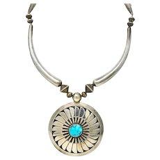 Fine Joseph H. Quintana JHQ Cochiti Pueblo Turquoise Sterling Silver Necklace