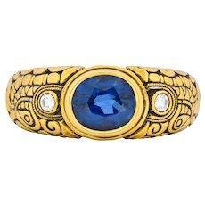 Alex Sepkus 1.58 CTW Sapphire Diamond 18 Karat Gold Dragon Ring