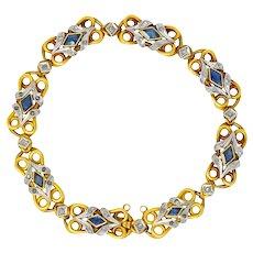 Belle Époque French 2.00 CTW Sapphire Diamond Platinum-Topped 18 Karat Gold Bracelet