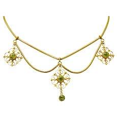 Art Nouveau 8.50 CTW Peridot 14 Karat Gold Swag Necklace